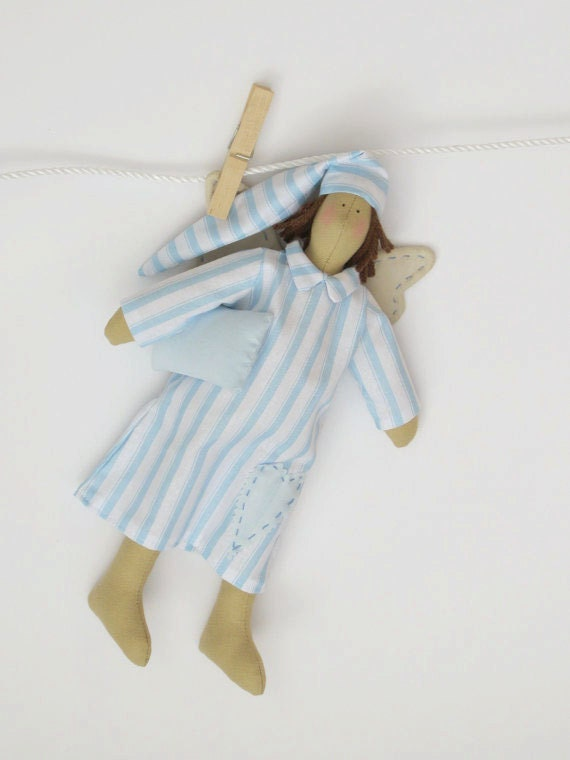 Handmade fabric doll-Sweet dreams Guardian angel,fairy doll blue striped dress, Angel rag doll- for girl boy,gift for birthday