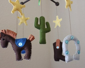 "Baby Crib Mobile - Baby Mobile - Nursery Cowboy Mobile ""Cowboy Western"" (You can pick your colors) Mobile - Crib Mobile"