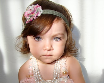 20% off...Floral shabby chic flower headband, baby headbands, newborn headbands, baby girl headbands