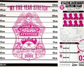 SALE* Funny Baby Growth Chart. My 5 Year Stretch. A1 Print with Johnny Cash Arrest Board. PINK