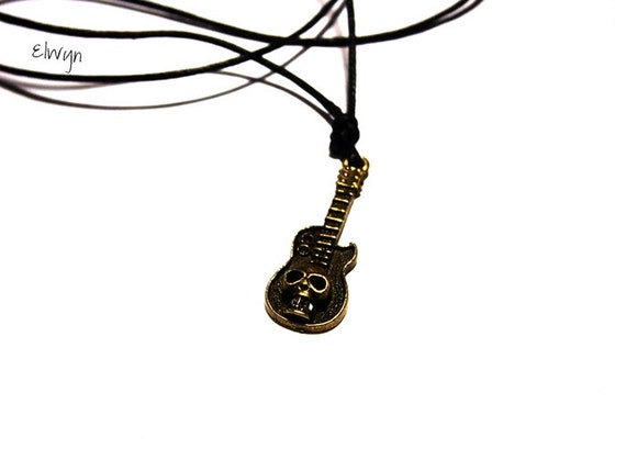 Guitar Necklace, Mens Necklace, Mens Jewelry, Choker Necklace, Gift For Him, Mens Gift, Guitar Player Gift, Adjustable Cord Necklace