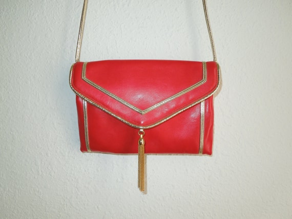 Reserved Fabulous Cherry Red & Gold Purse