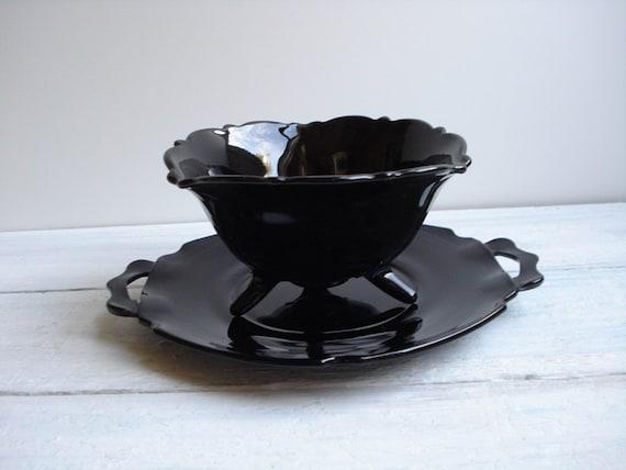Vintage Black Depression Glass Bowl & Underplate Mt Pleasant by LE Smith Art Deco