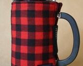 French Press Coffee Cozy Red & Black Plaid Flannel