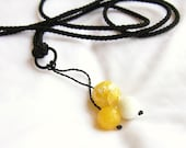 Necklace pendant yellow lemon white - drop round beads stone, black, ooak