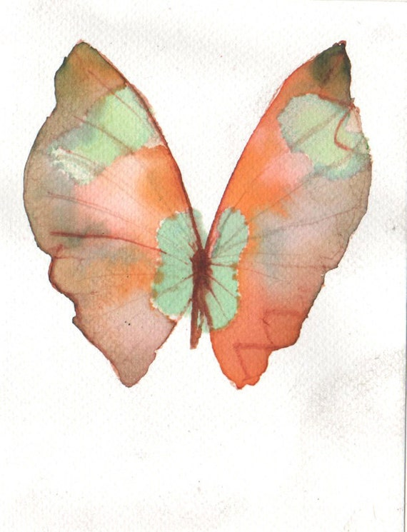 SPRING SALE Pale green and orange butterfly original watercolour painting