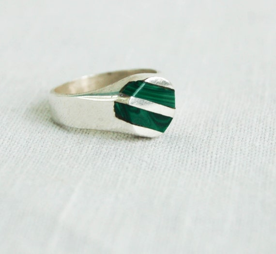 Striped Malachite Ring Size 7 Vintage Mexican Sterling Silver Jewerly