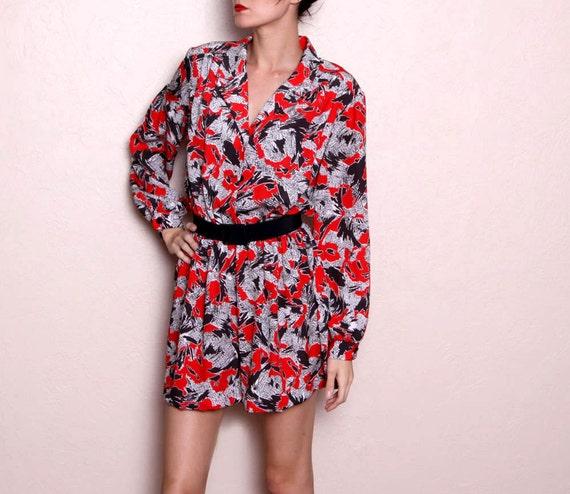 Vintage Hipster Red Black Long Sleeve Mini Dress - 80s