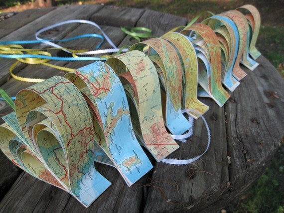 10 Vintage Map Hearts, In Rainbow Colors.  Wedding, Shower, Birthday, Decoration. Any Color Or Book Available. Custom Orders Welcome.