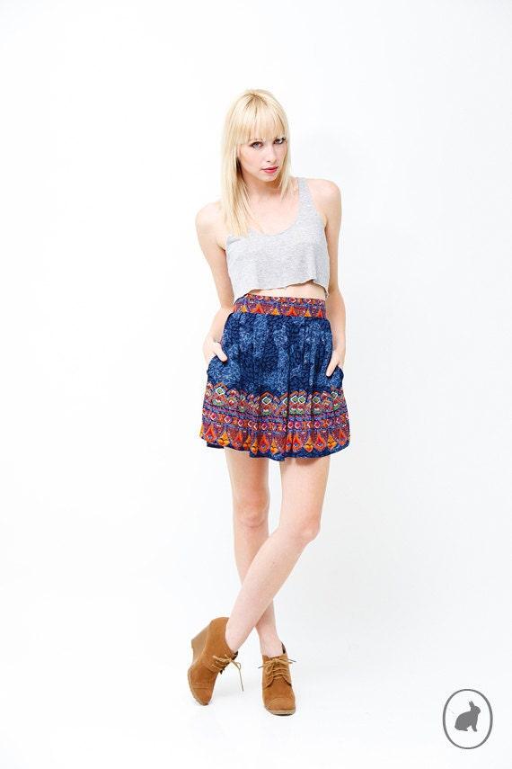 Vintage 80s Blue Tribal Print Mini Skirt -  Hip Pockets - Spring Summer Fashion