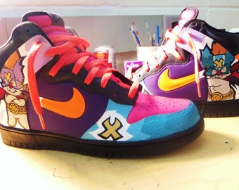 "Hand Painted Nike Dunk High ""Moogle Xpress"" Custom Sneakers"