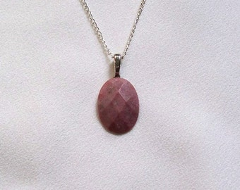 Rhodonite Gemstone - Pendant Necklace - Pink Jewelry