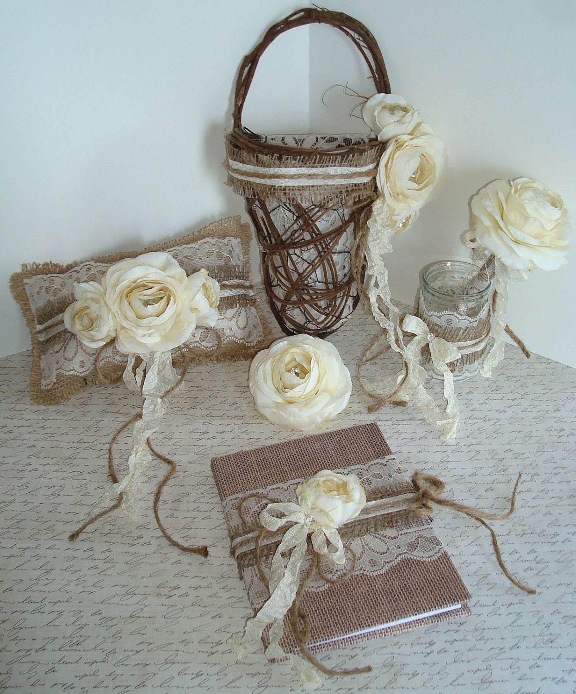 Flower Girl Baskets For Weddings: Flower Girl Basket Set-Rustic Wedding By TapersnPetals On Etsy