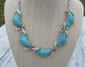CORO Signed Turquoise & Silver Leaf  Vintage Necklace