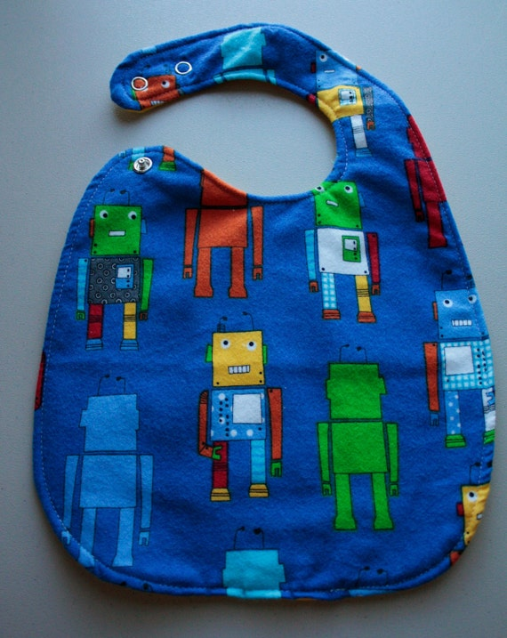 Blue Robot Double Snap Bib