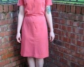 Vintage 70s tea dress UK 12 US 8 coral pink
