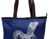 Seal Large Tote Bag by Salvador Kitti - Support Wildlife Conservation, Read How -  From my Original Oil Painting, Playful Pup