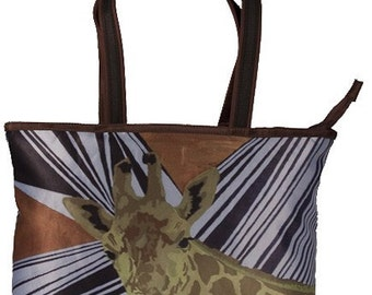 Giraffe Large Handbag, Tote Bag - Support Wildlife Conservation, Read How - From My Original Painting, African Splash