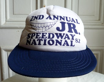 Vintage 1980s Navy & White Trucker Style Mesh Hat- Jr Speedway National