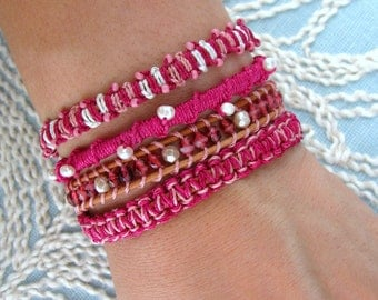 Arm Candy - Wrap Bracelet with Freshwater Pearls and a Gold Button Clasp - Shades of Pink