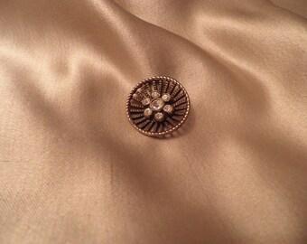 Vintage Rhinestone and Brass Button, Vintage Button, Vintage Sewing Supplies, Vintage Craft Supplies