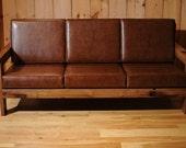 Wood Leather Sofa Reclaimed Oak Couch    CUSTOM ITEM