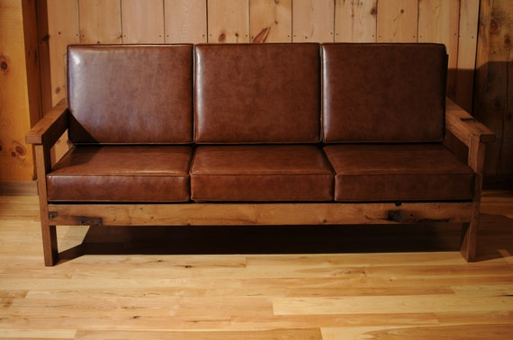 Items similar to wood leather sofa reclaimed oak couch