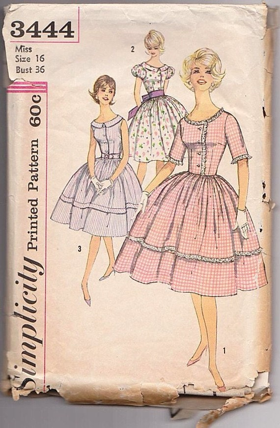 "1950s Original Simplicity 3444 Prom Dress Bust 36"" Vintage Sewing Pattern"