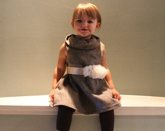 The Posh Cowl Dress, PDF Sewing Pattern, Sizes Newborn to Toddlers to Girls 14, Instant Download Tutorial