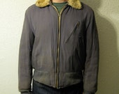 1940s-50s Windward Gabardine Bomber Jacket with Sheep Mouton Collar, very rare, size 38