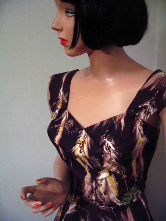 RESERVED THRU 2/24 -- 1950's Hawaiian Dress Novelty Print with Bolero Jacket Paradise Hawaii