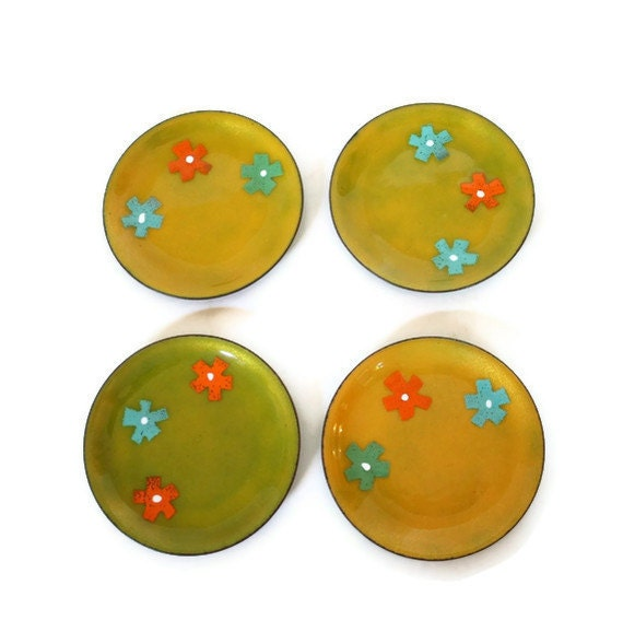 Yellow Enameled Copper Dish Set of  4 Mid Century Enamel on Copper Dishes