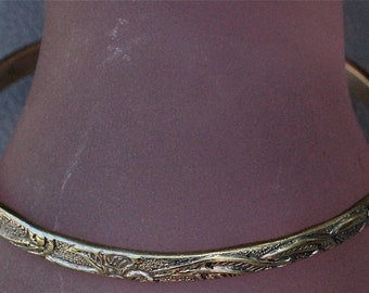 Vintage Taxco Mexican Gold Wash Sterling Floral Bangle Bracelet