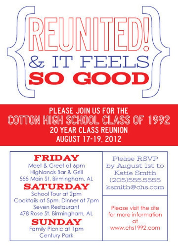 School Reunion Invitations as luxury invitations sample