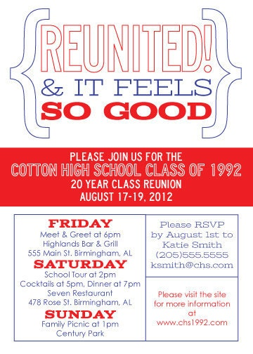 Modern Class Reunion Invitation Reunited And It Feels So