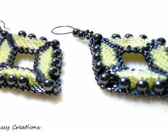 Beadwoven Earrings - Geometric Black & Yellow Diamond-Shaped Studded with Hematite.  EBW005.