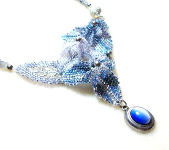 Flower Necklace - Asymmetrical Beadwoven in Blue and Silver with Labradorite