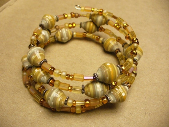 shades of yellow and gold - Paper Bead memory wire bracelet CLEARANCE