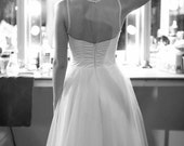 Short Tulle Wedding Dress, Vintage inspired bride, Strapless Illusion Neckline, Full Tulle Skirt, Open Back - Available in Plus Size