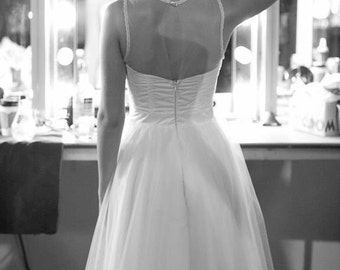 Short Tulle Wedding Dress, Vintage inspired bride, Strapless Illusion Neckline, Full Tulle Skirt, Open Back - Available in Plus Size