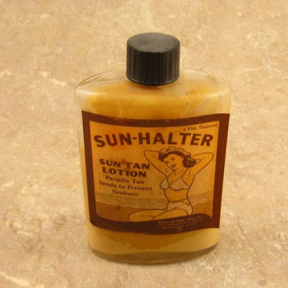 1950s Bottle SUN HALTER Tan Lotion w Bikini Girl Graphics