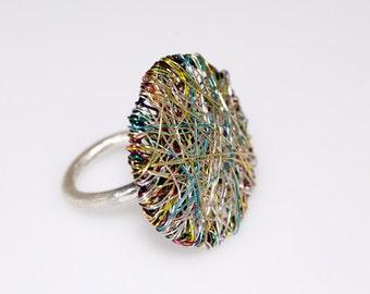 Items similar to beaded ring silver hematite gunmetal for Minimal art jewelry