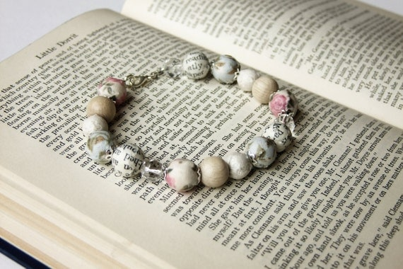 Pale pink beaded bracelet, fabric and book page beads in pastel blue and cream