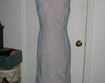 SALE VINTAGE BLUE Lace Dress 1960's Retro Mod