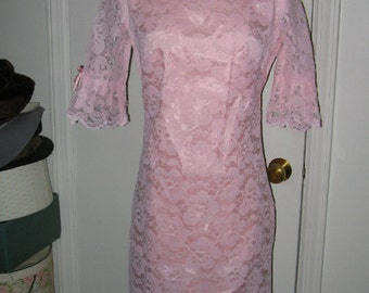 VINTAGE 1960's PINK LACE Party Dress Beautiful