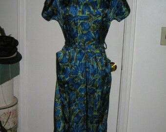 VINTAGE  1950's WIGGLE DRESS Blue Green 1950's Retro Rockabilly