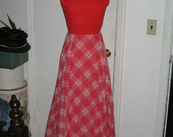 SALE VINTAGE RED Plaid Dotted Swiss Party Dress 1960's Retro