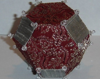 Silver and Burgundy Silk Truncated Octahedron Polyhedron Ornament