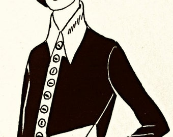 Coat sewing pattern and/or classic dress-shirt with nice big collar. 1920s style.