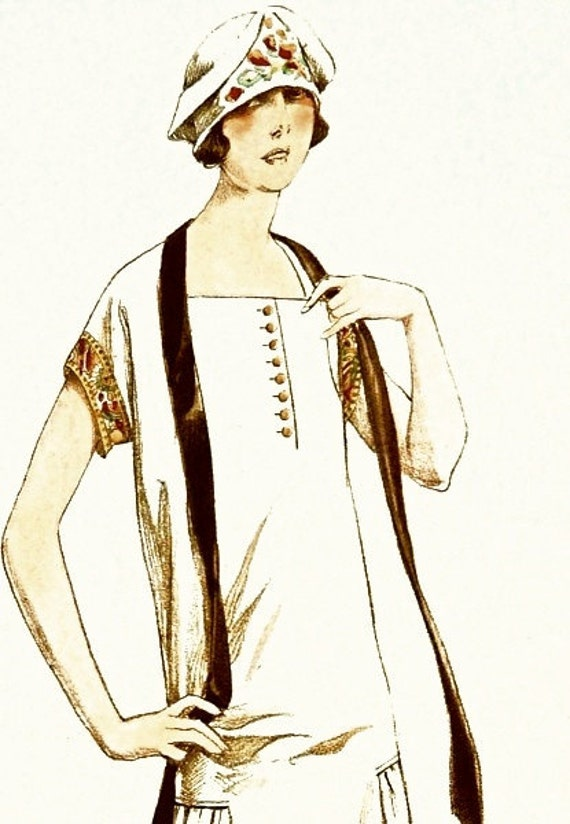 Sewing pattern-Dress. Elegant 1920s style with square neck line. Standard size or made to measure.